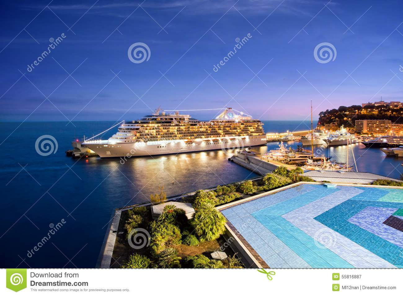 Cruise Ship At Night In Monaco Harbor Editorial Photography - Cruise ships in monaco today
