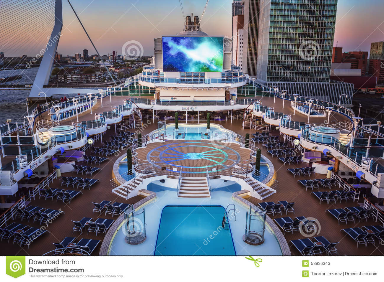 Cruise Ship Open Deck Stock Image. Image Of Cinema Port - 58936343