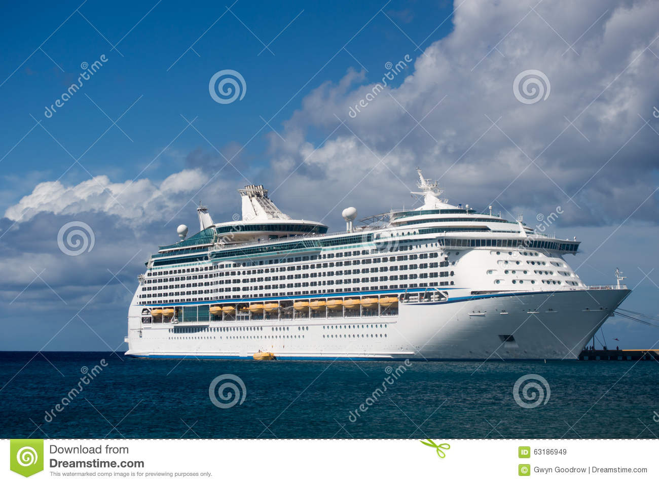 Cruise Ship At Pier In Caribbean Islands Stock Image - Image