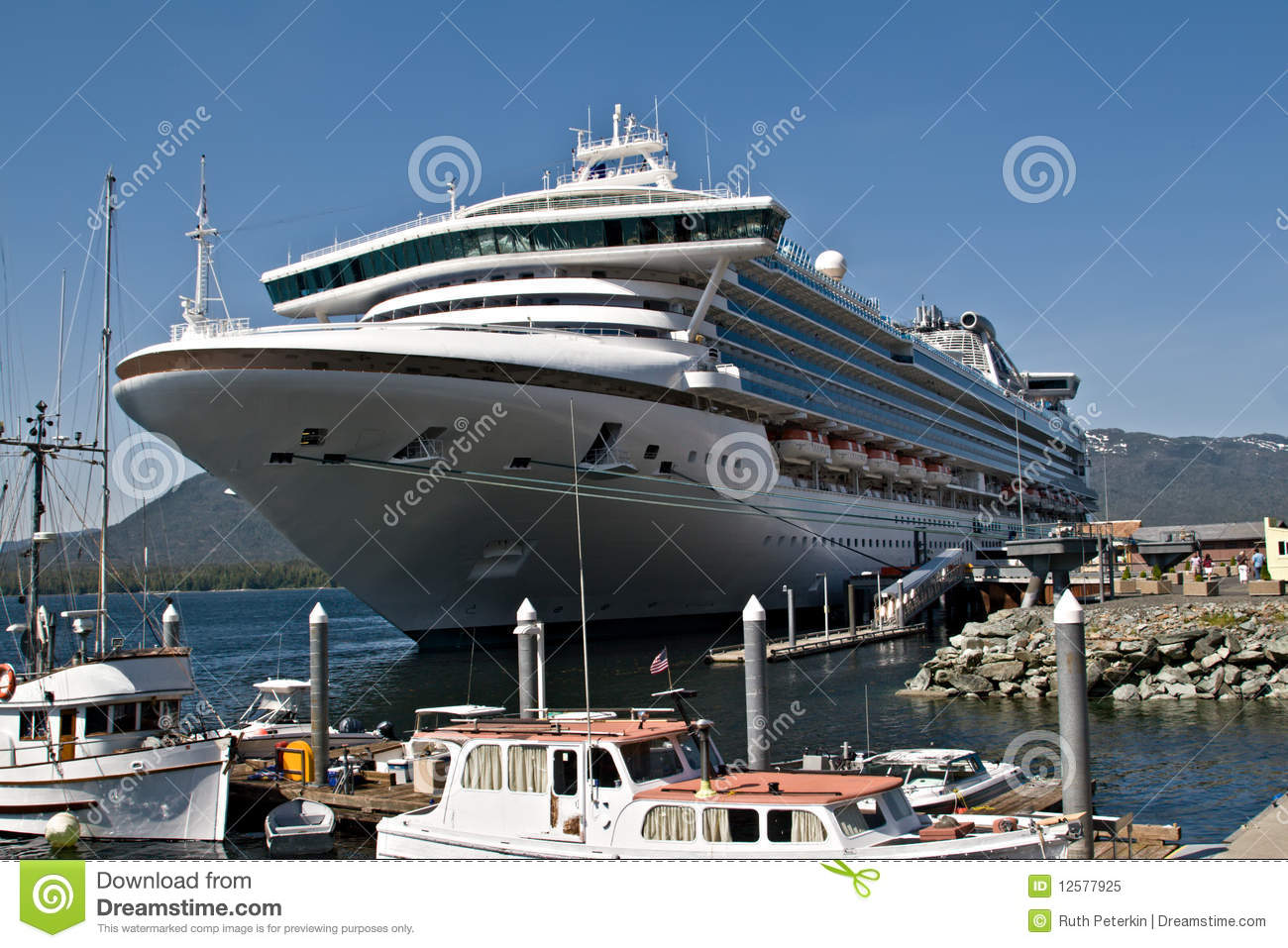 Cruise Ship In Port In Ketchikan, Alaska Royalty Free Stock Photo ...