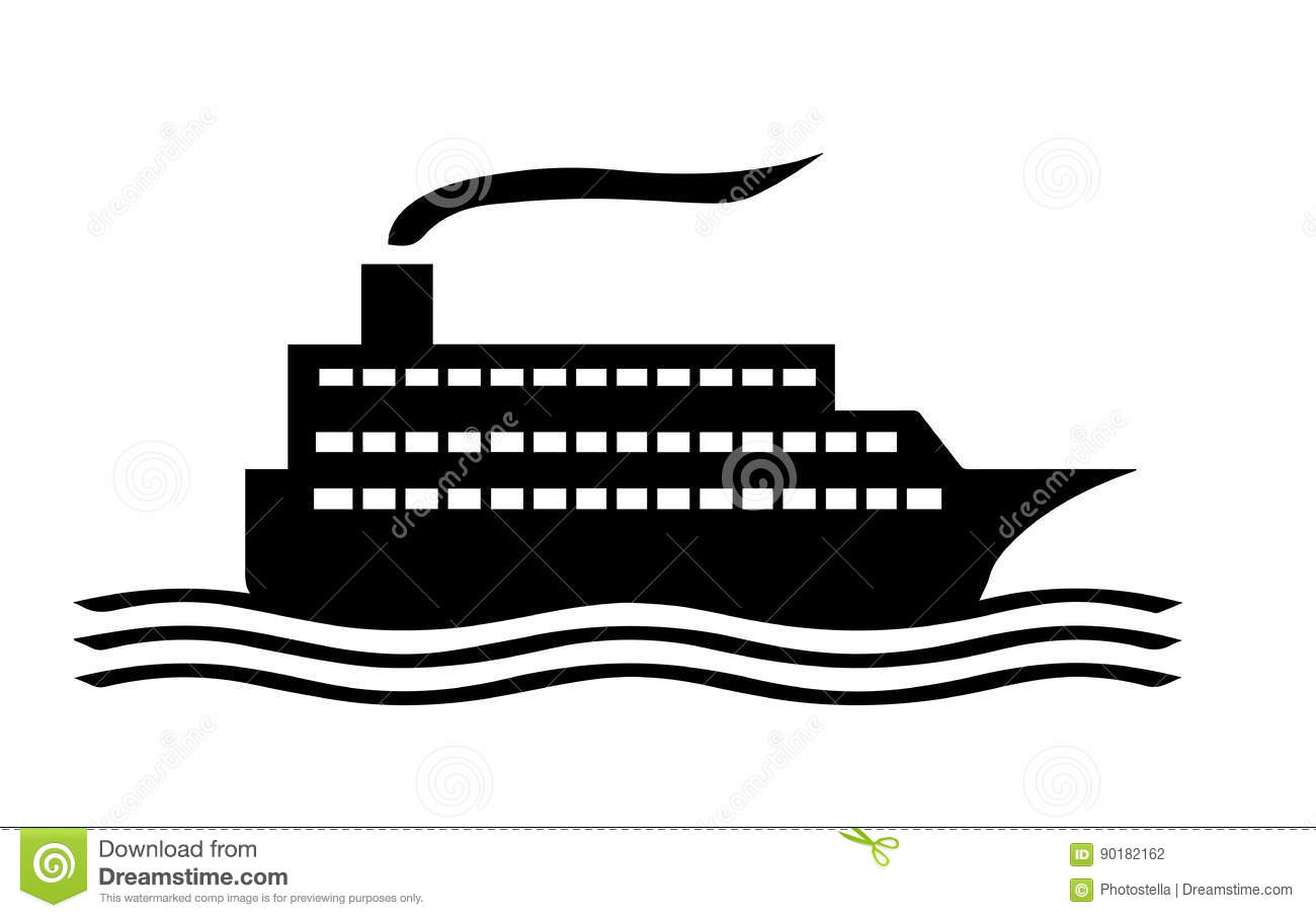 Download Cruise Ship Silhouette Stock Illustration Of