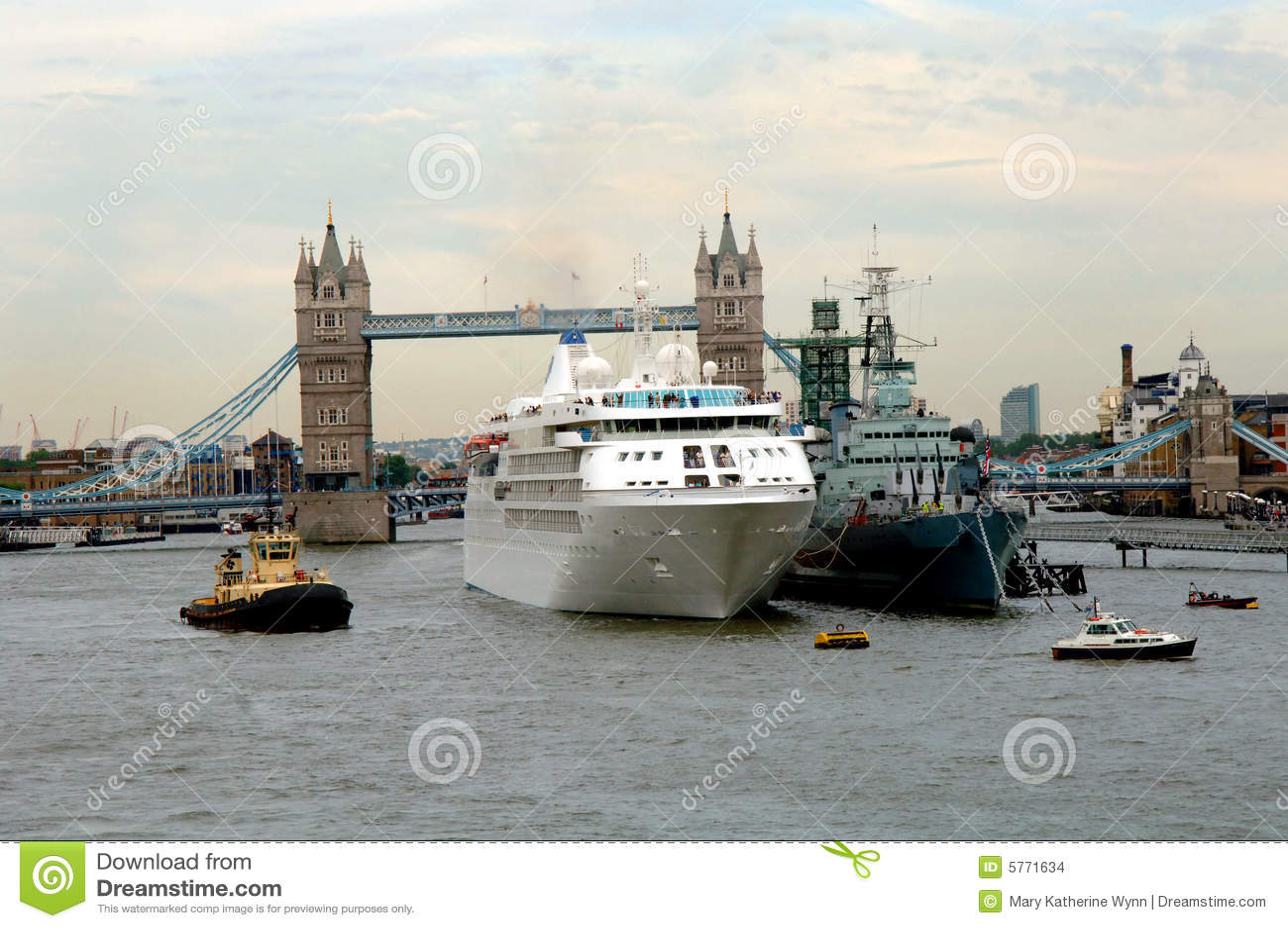 Cruise Ship At Tower Bridge London Stock Photo Image Of