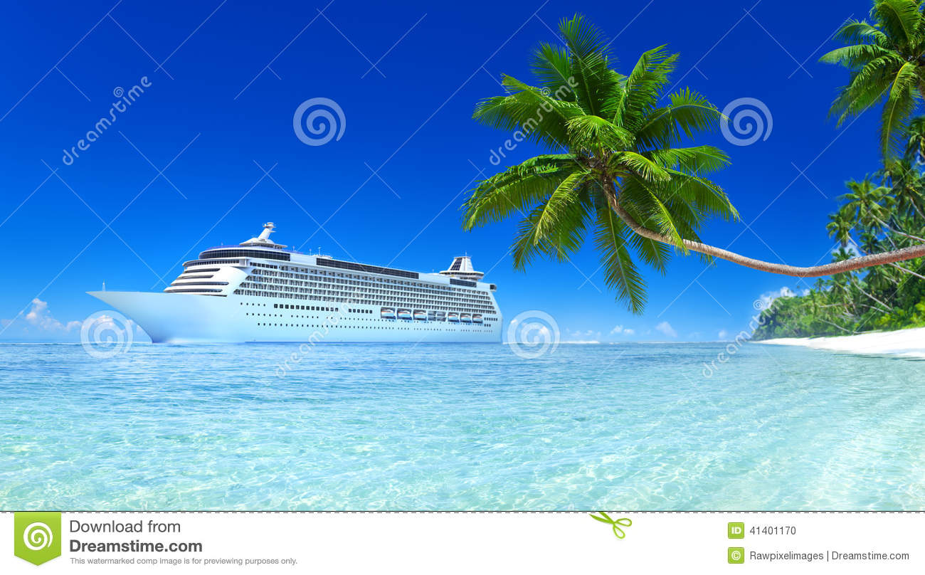 Cruise Ship On A Tropical Beach Stock Photo