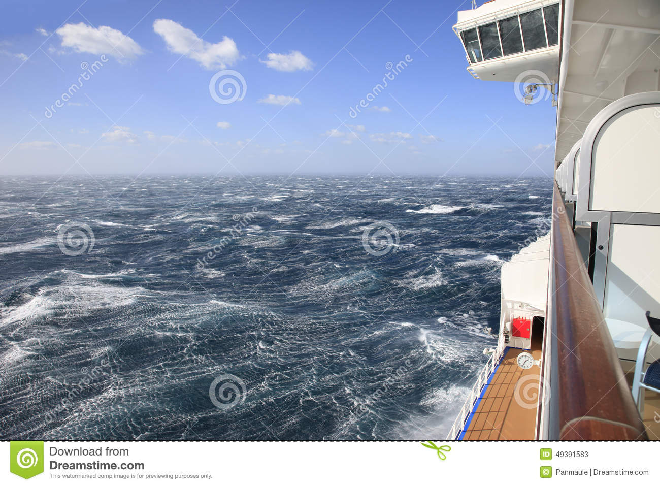 Cruise ship view from a balcony of rough seas and blue sky for Balcony in cruise ship