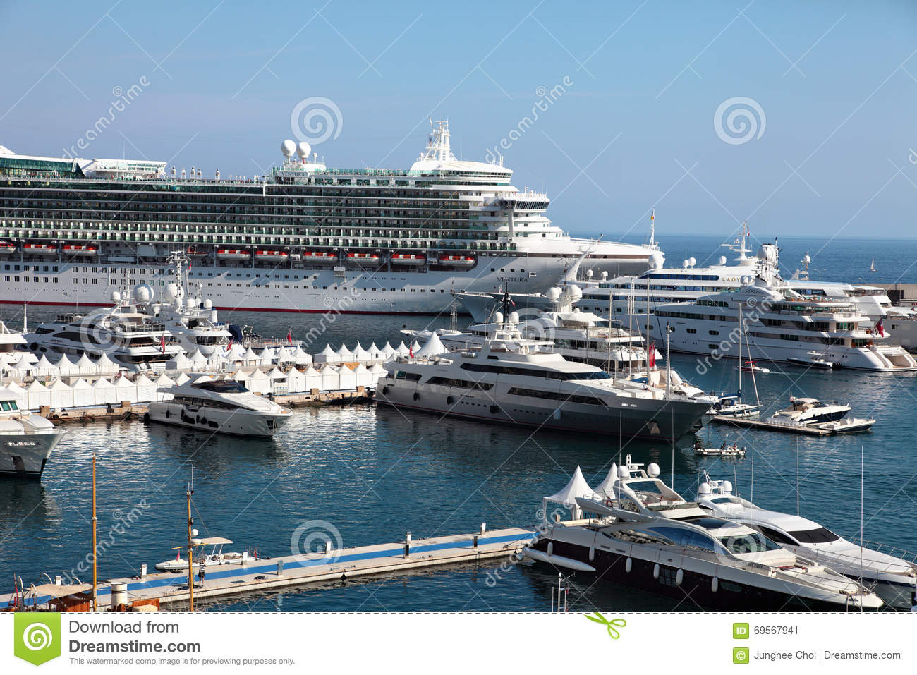 Cruise Ship And Yachts In Marina At Monaco Editorial Photo Image - Cruise ships in monaco today