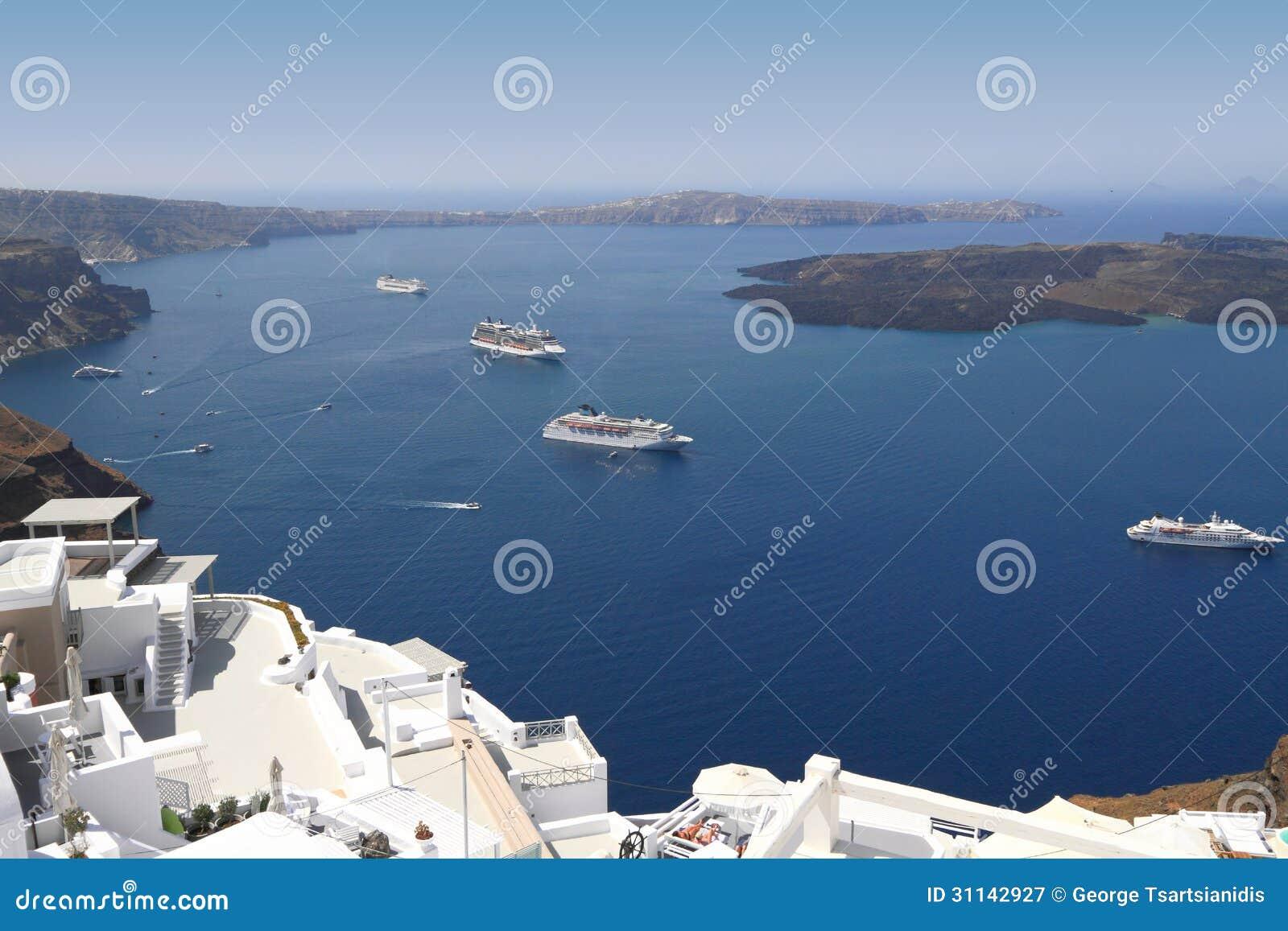 Cruise ships on Mediterranean sea in Santorini