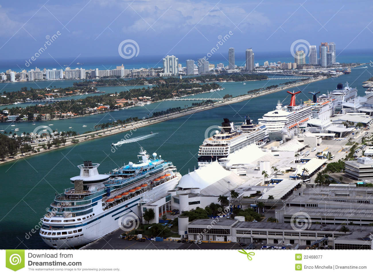 Cruise Ships At Miami Port Stock Image Image Of Boats