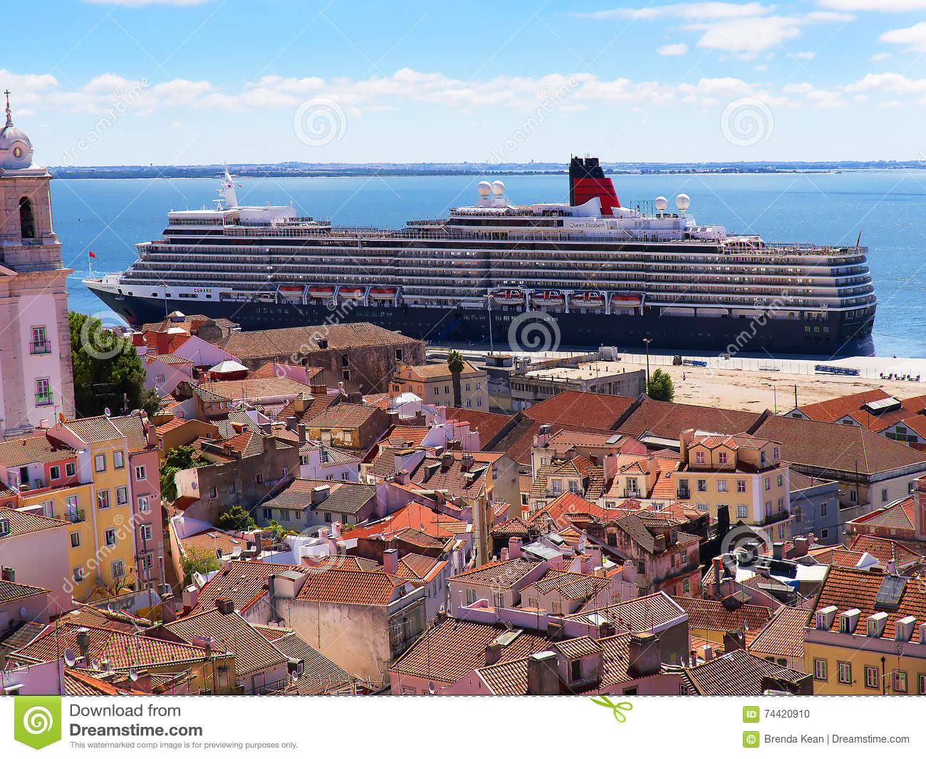 Cruise Ships In Port In Lisbon Portugal Editorial Image Image - Lisbon cruise ship port