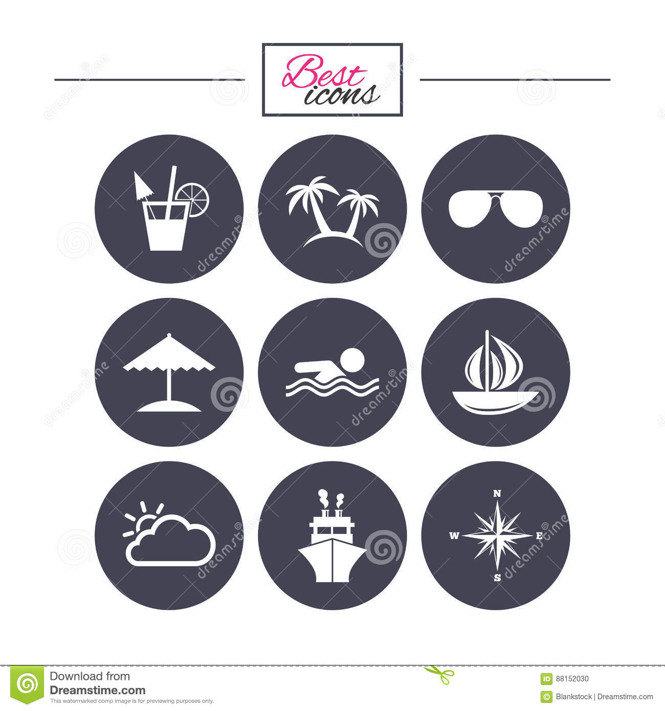 Cruise Trip Ship And Yacht Icons Travel Signs Stock Vector