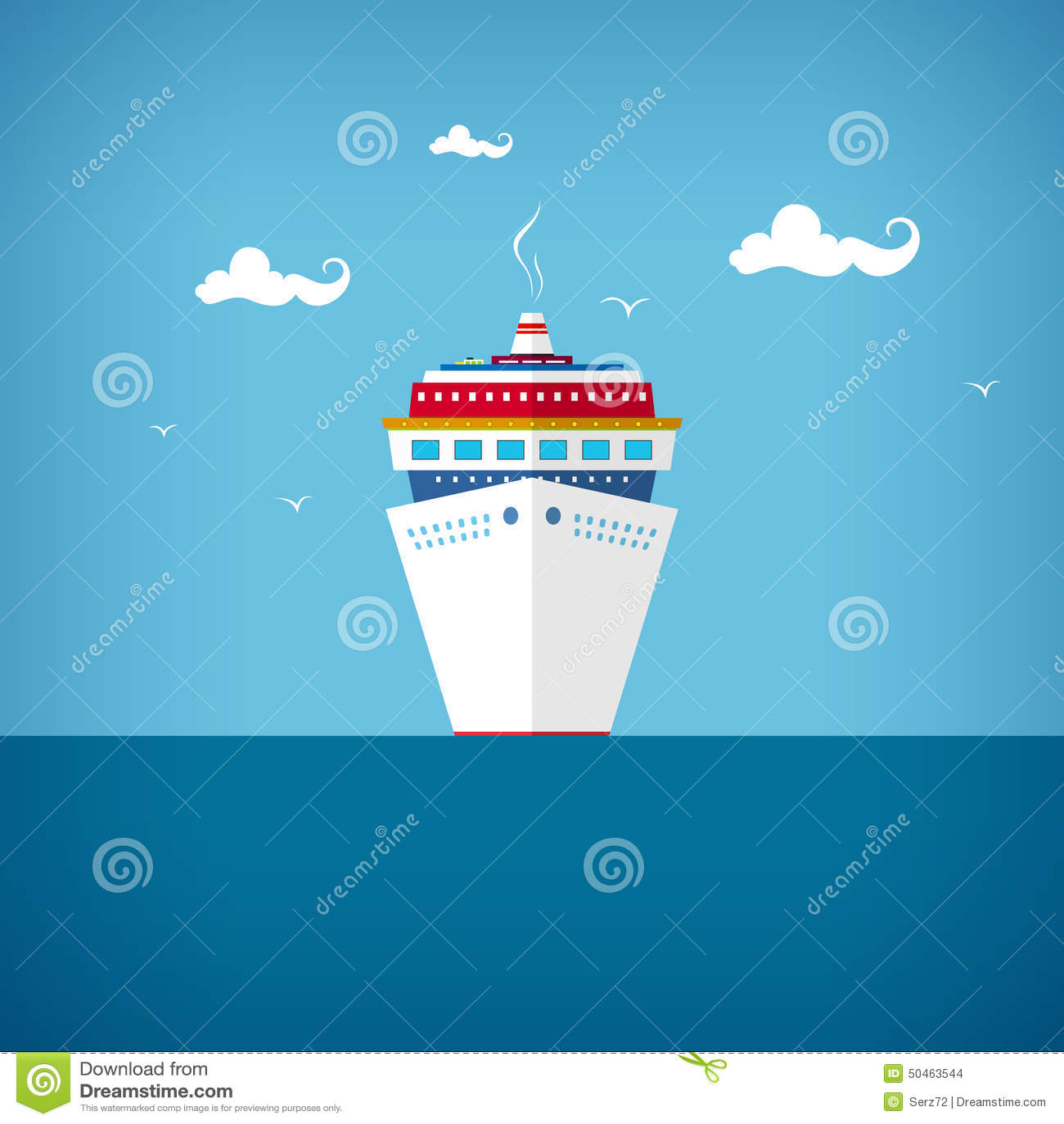 Cruiseschip op zee of in de oceaan in een zonnige dag