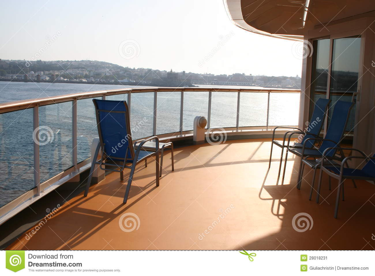 Cruiseship balcony stock image image of mediterranean for Balcony sunbathing