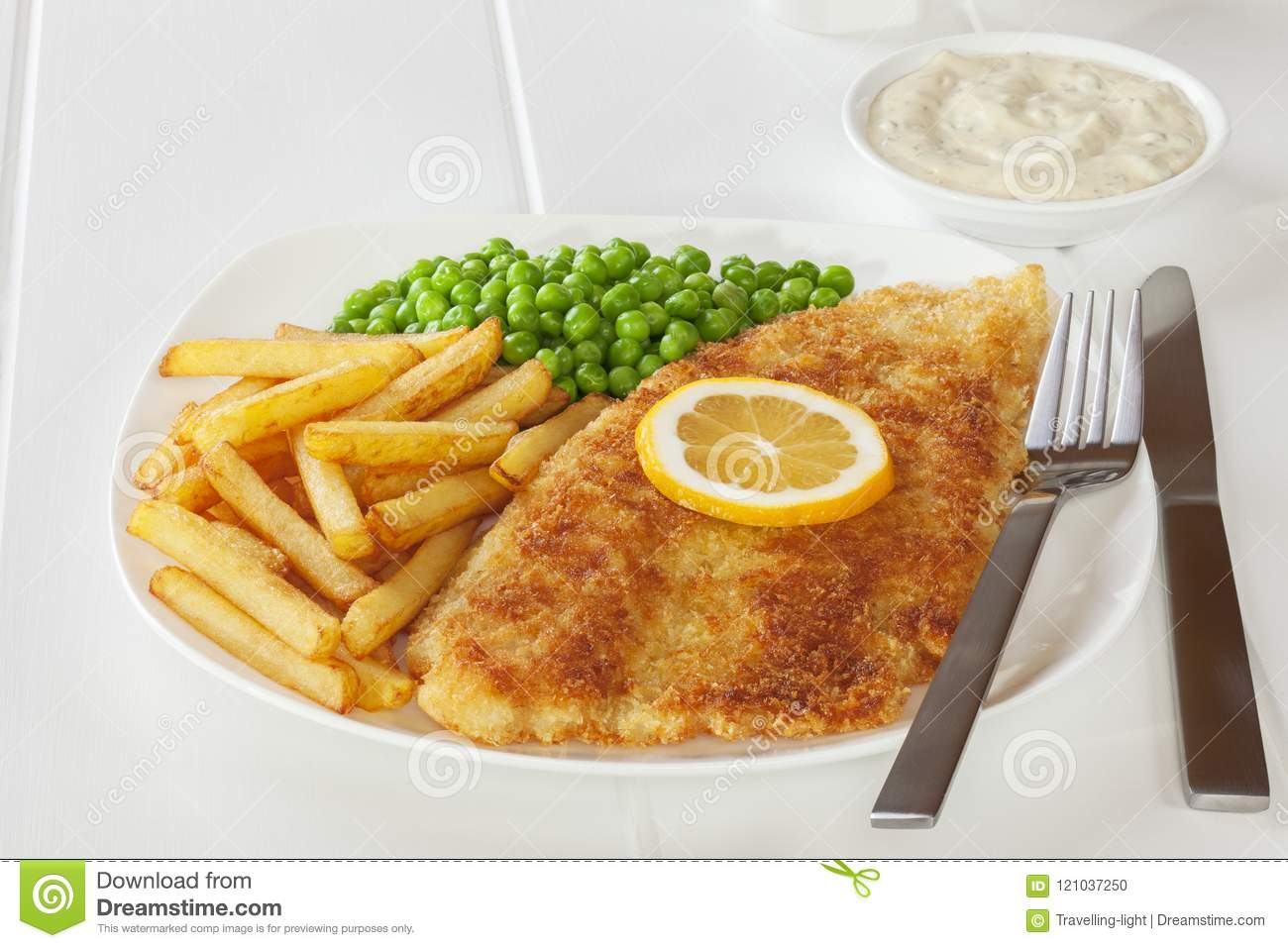 Crumbed Fiah and Chips