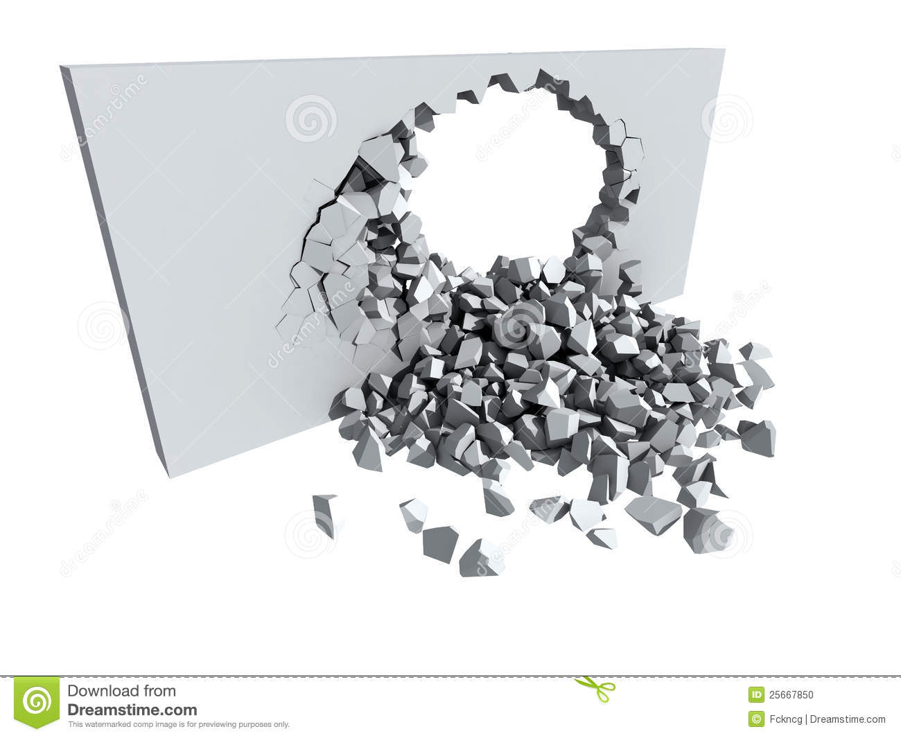 Crumbling crumbling concrete wall with hole stock photo - image: 25667850