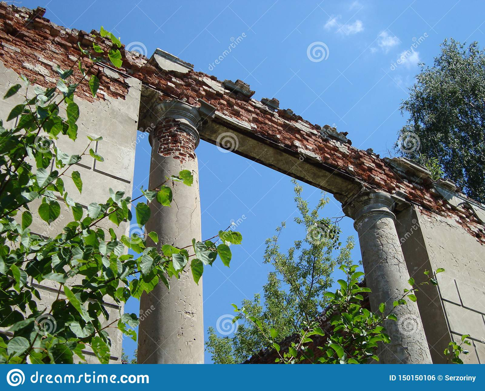 Crumbling ruins of old-time noble manor on a clear day
