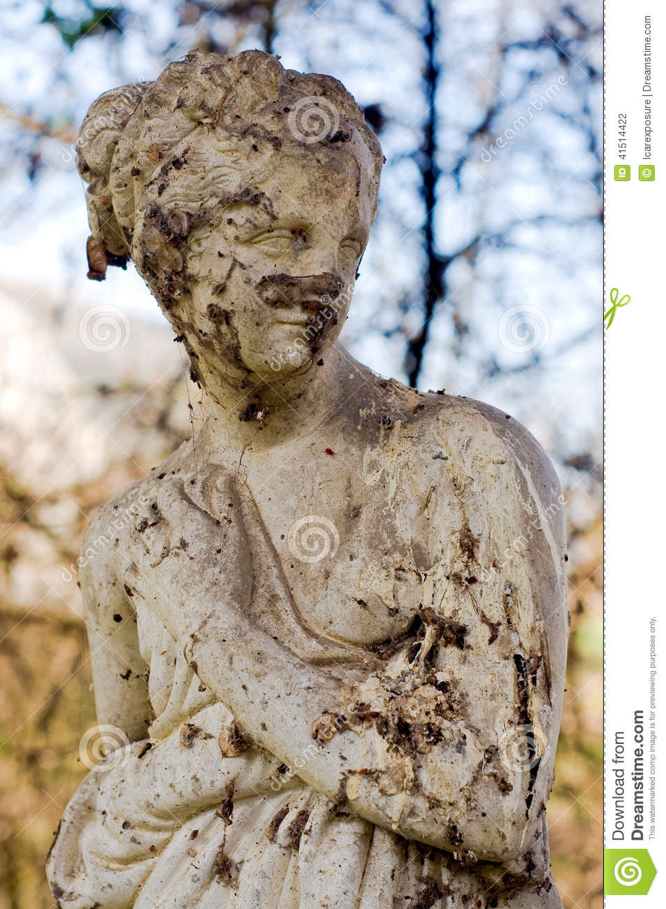 Crumbling Statue Of A Beautiful Woman Stock Photo Image