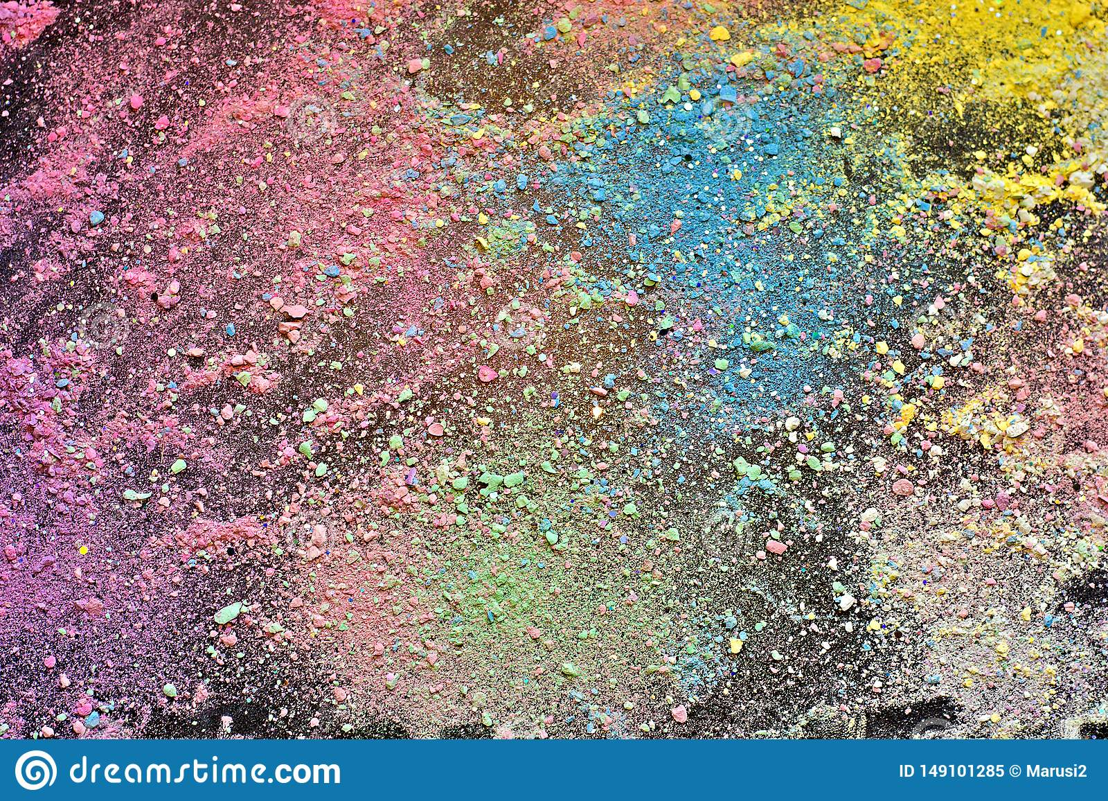 Crumbs of chalk colorful background