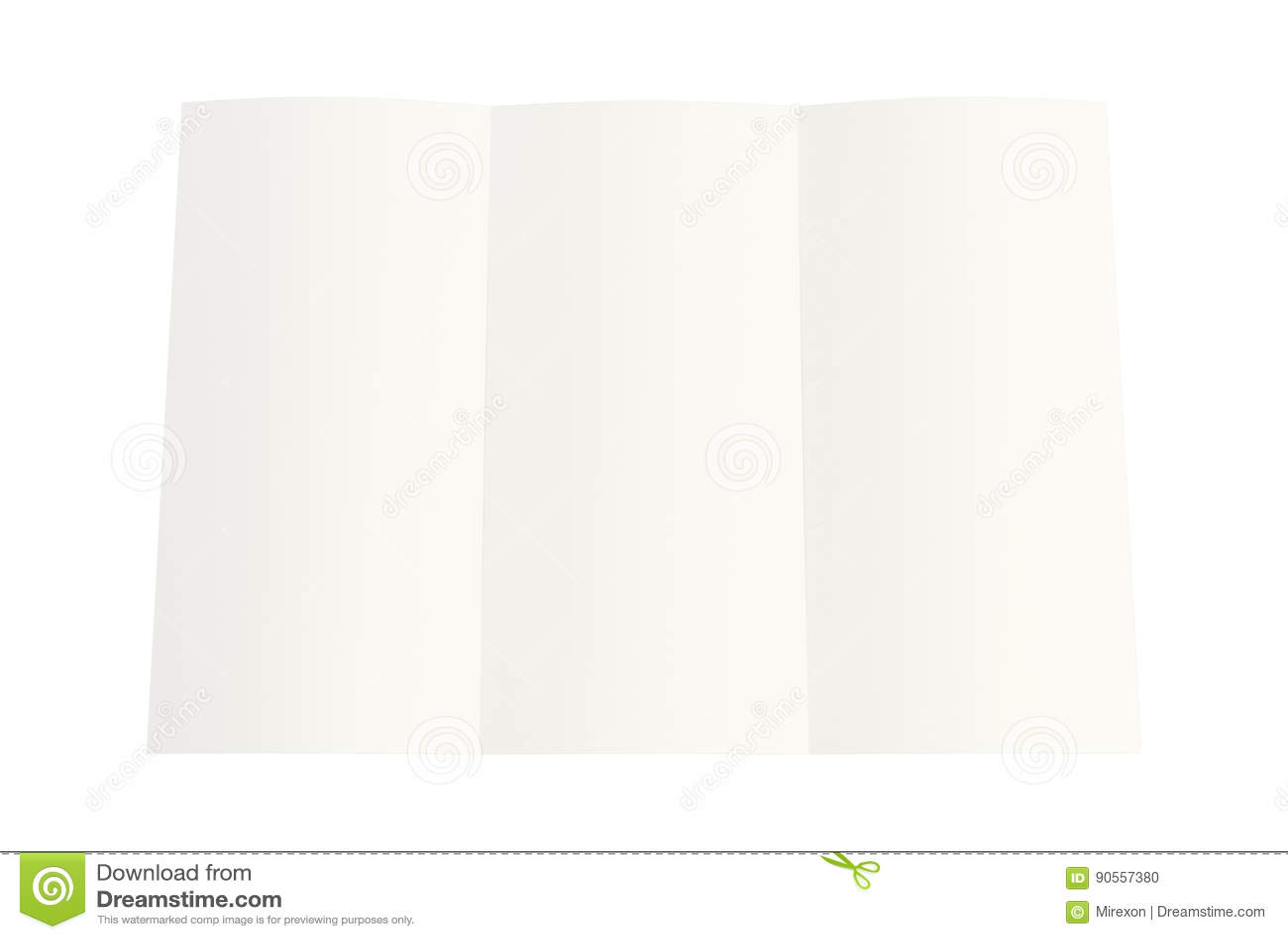 Crumpled dobló el papel A4 representación 3d en el fondo blanco