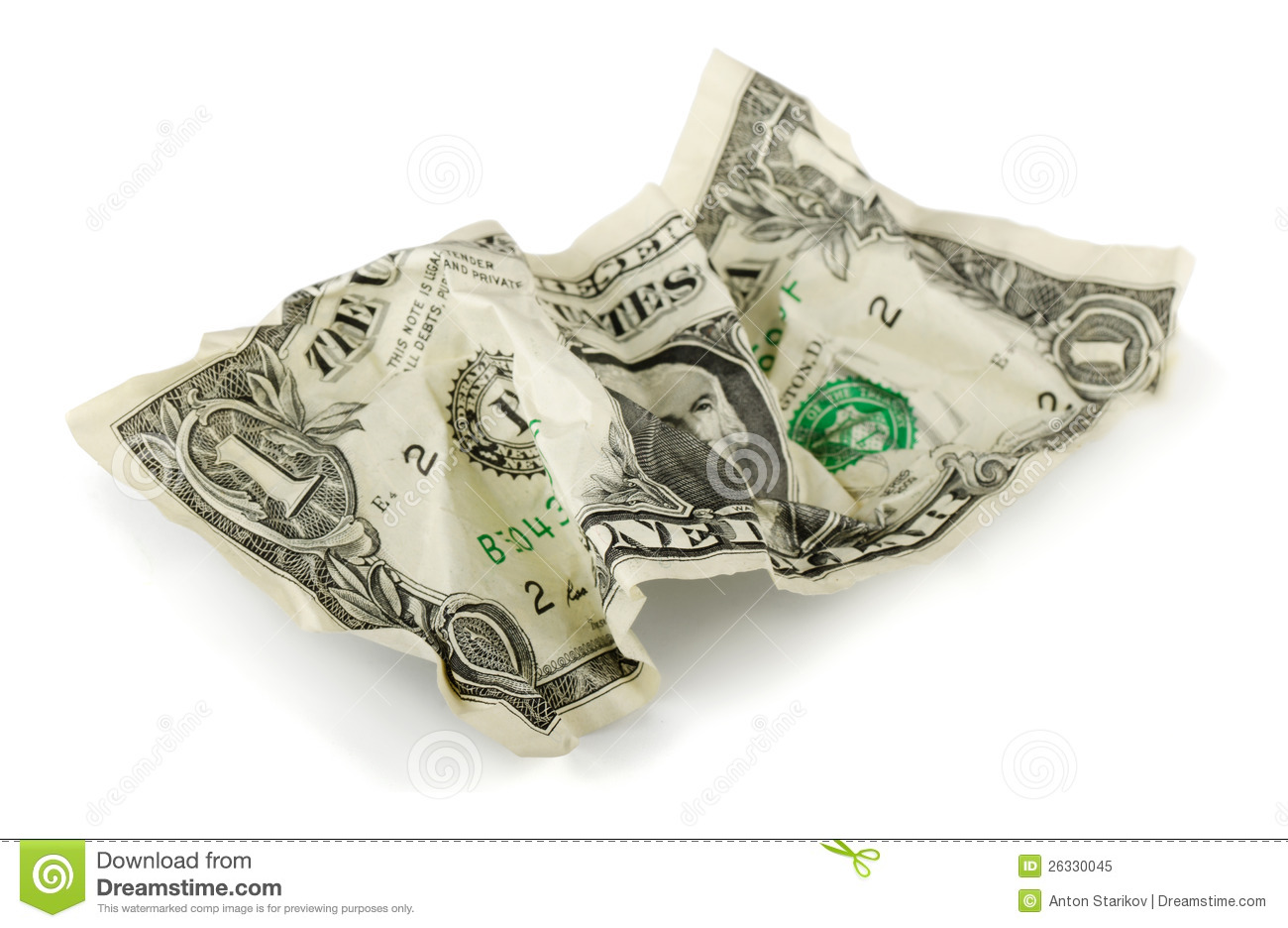 Crumpled Dollar Royalty Free Stock Photo Image 26330045
