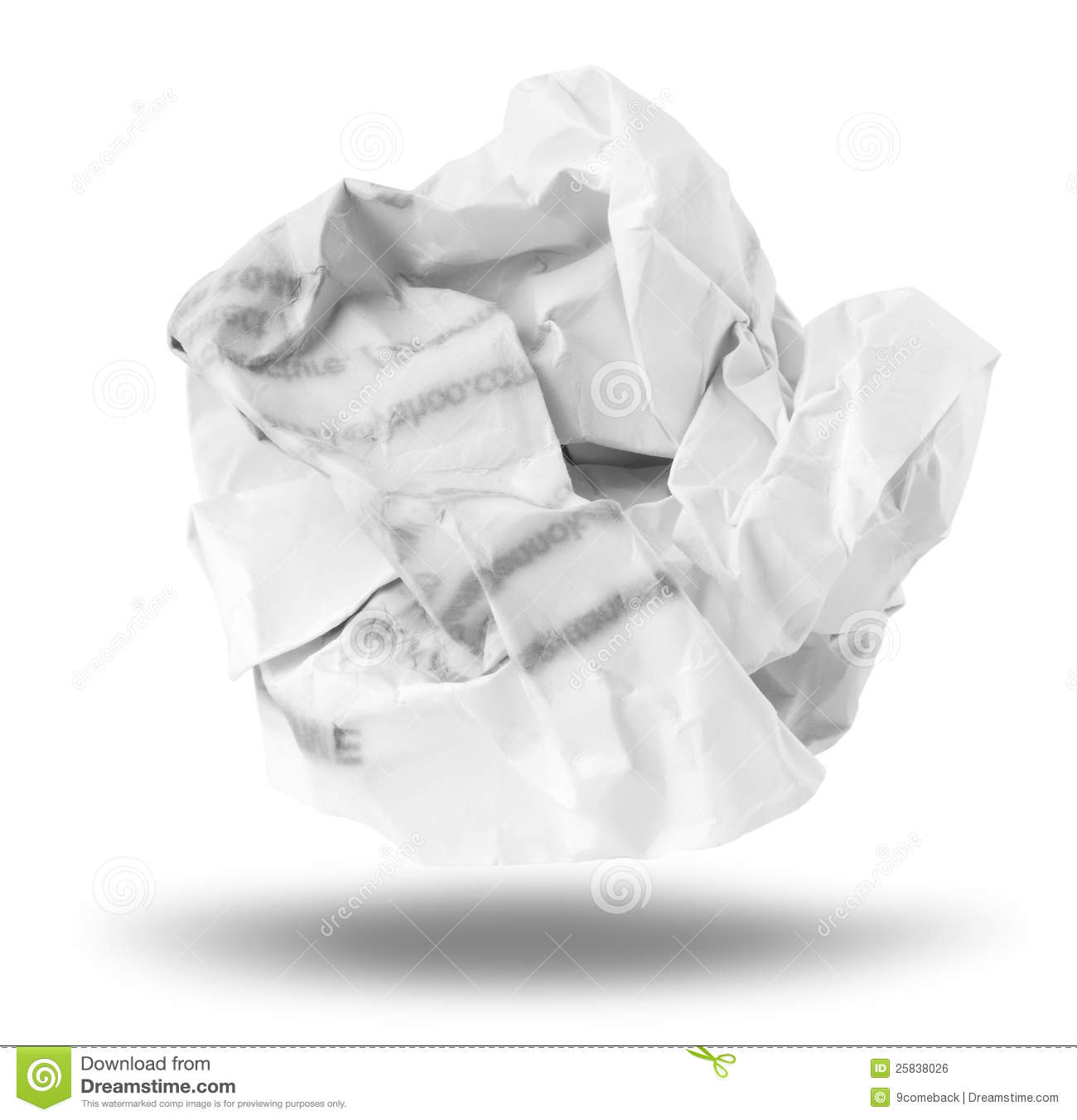 crumpled paper ball stock photo. image of garbage, rough - 27766786