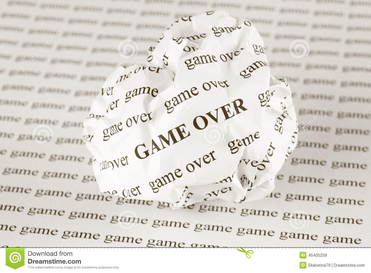 crumpled paper ball with words game over stock image - image of game