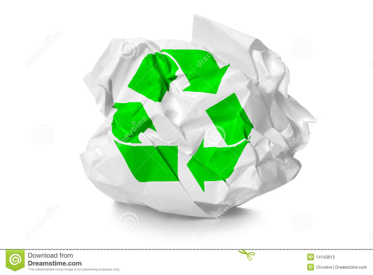 Paper Recycling Sign Crumpled Paper With Re...