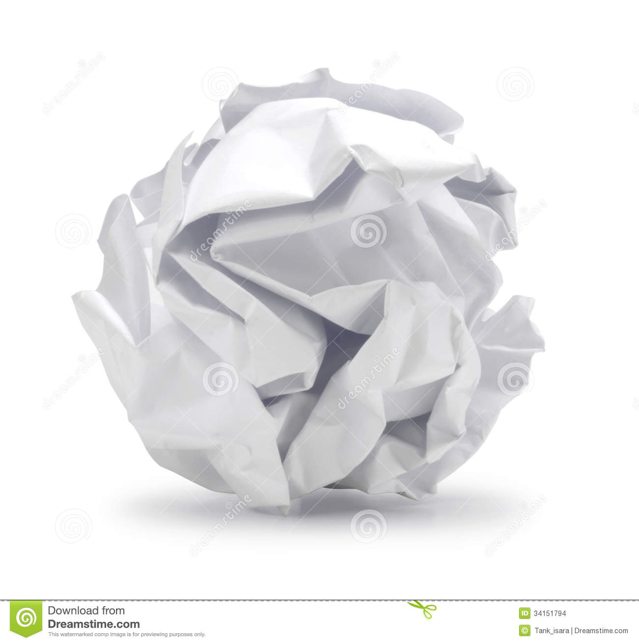 Crumpled sheet of paper in ball shape can be recycle stock images
