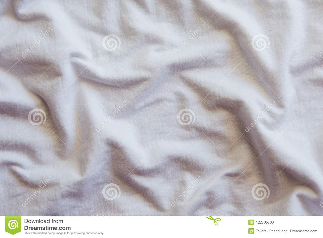 Crumpled white Cotton Fabric Texture.