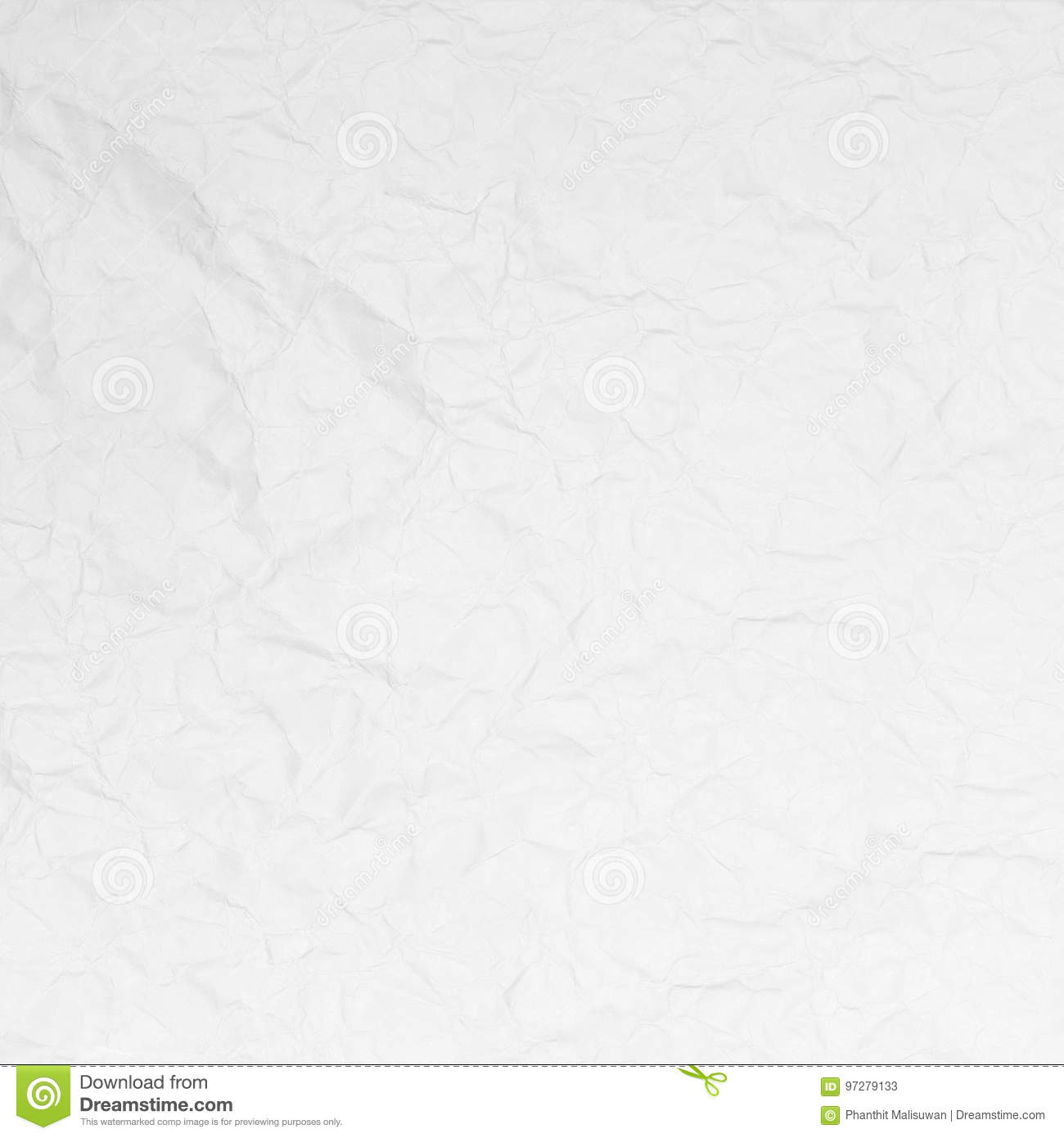 Crumpled white paper texture background for design.