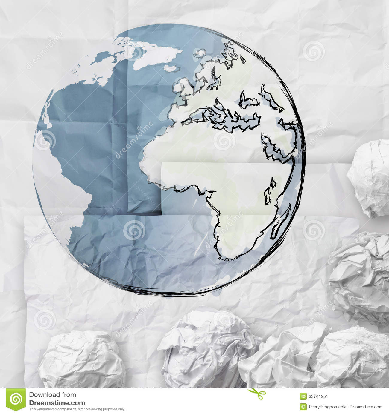 crumpled world paper symbol as concept stock illustration