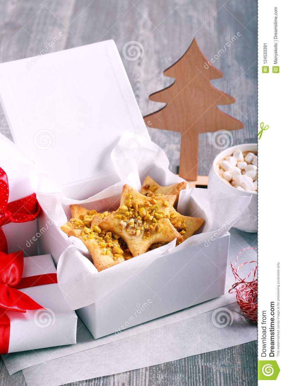Crunchy Pistachio Christmas Star Biscuits Stock Image Image Of