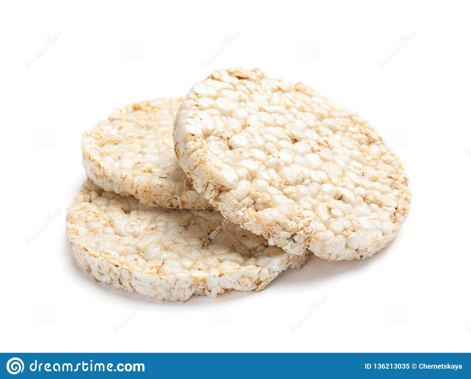 Crunchy rice cakes on white background.