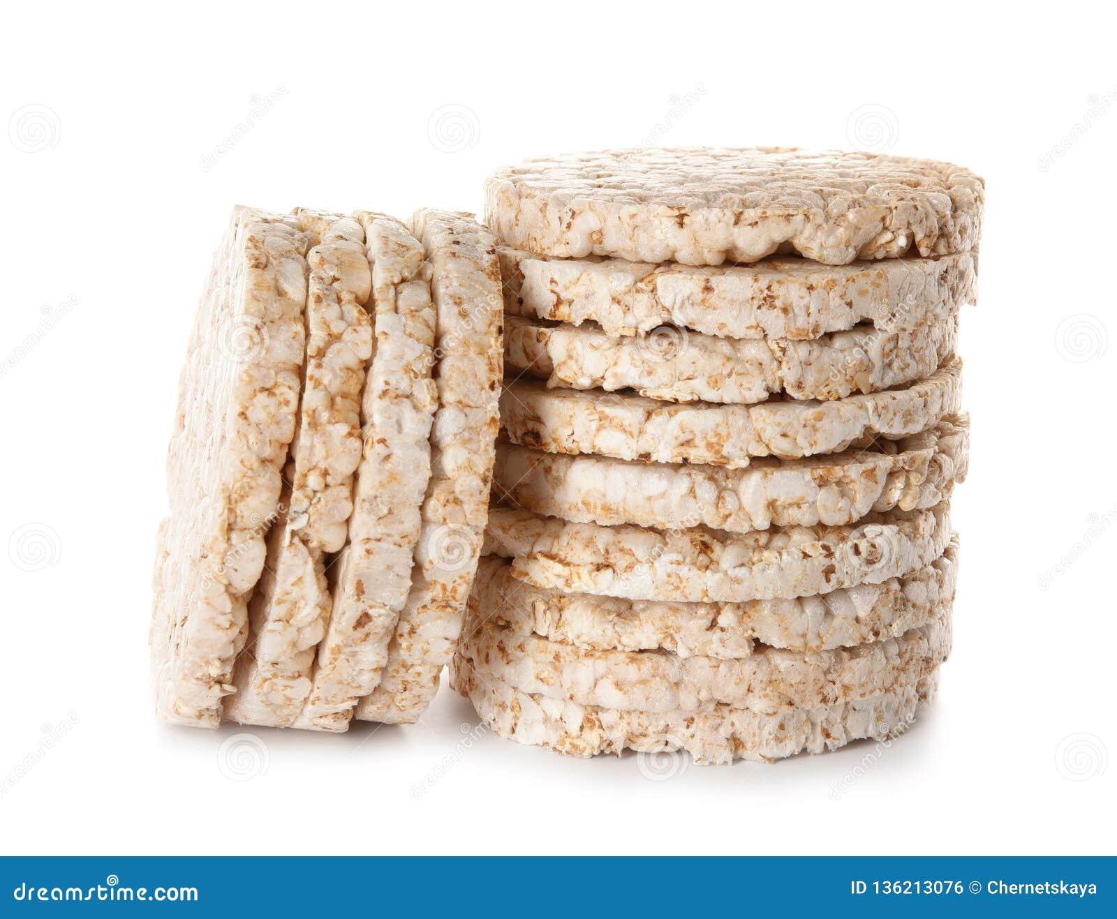 Crunchy rice cakes on white background.