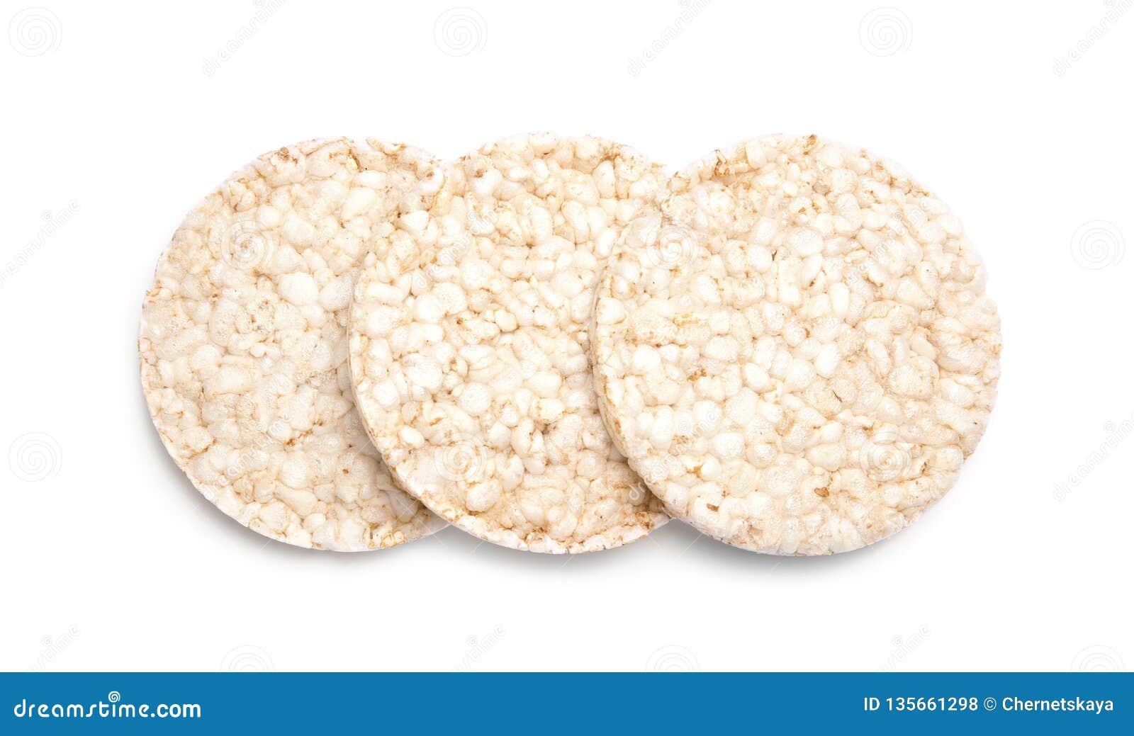 Crunchy rice cakes on white background