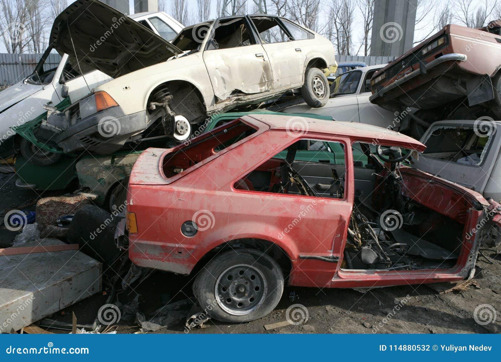 Crushed cars in junkyard stock photo. Image of crash - 114880532