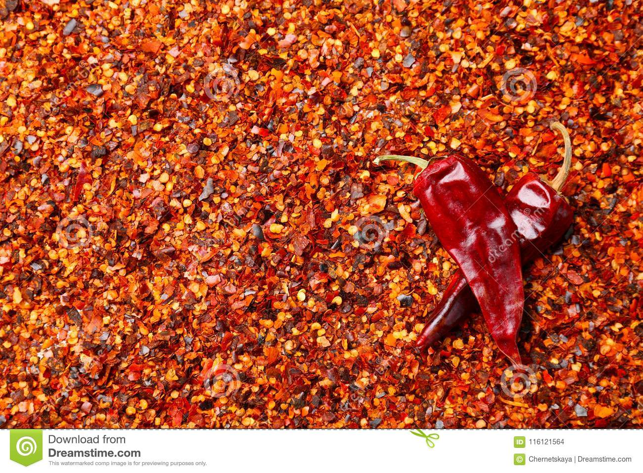 Crushed chili pepper and pods