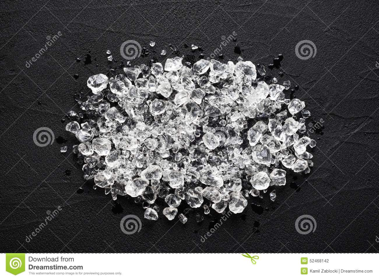 Crushed ice on black stone table