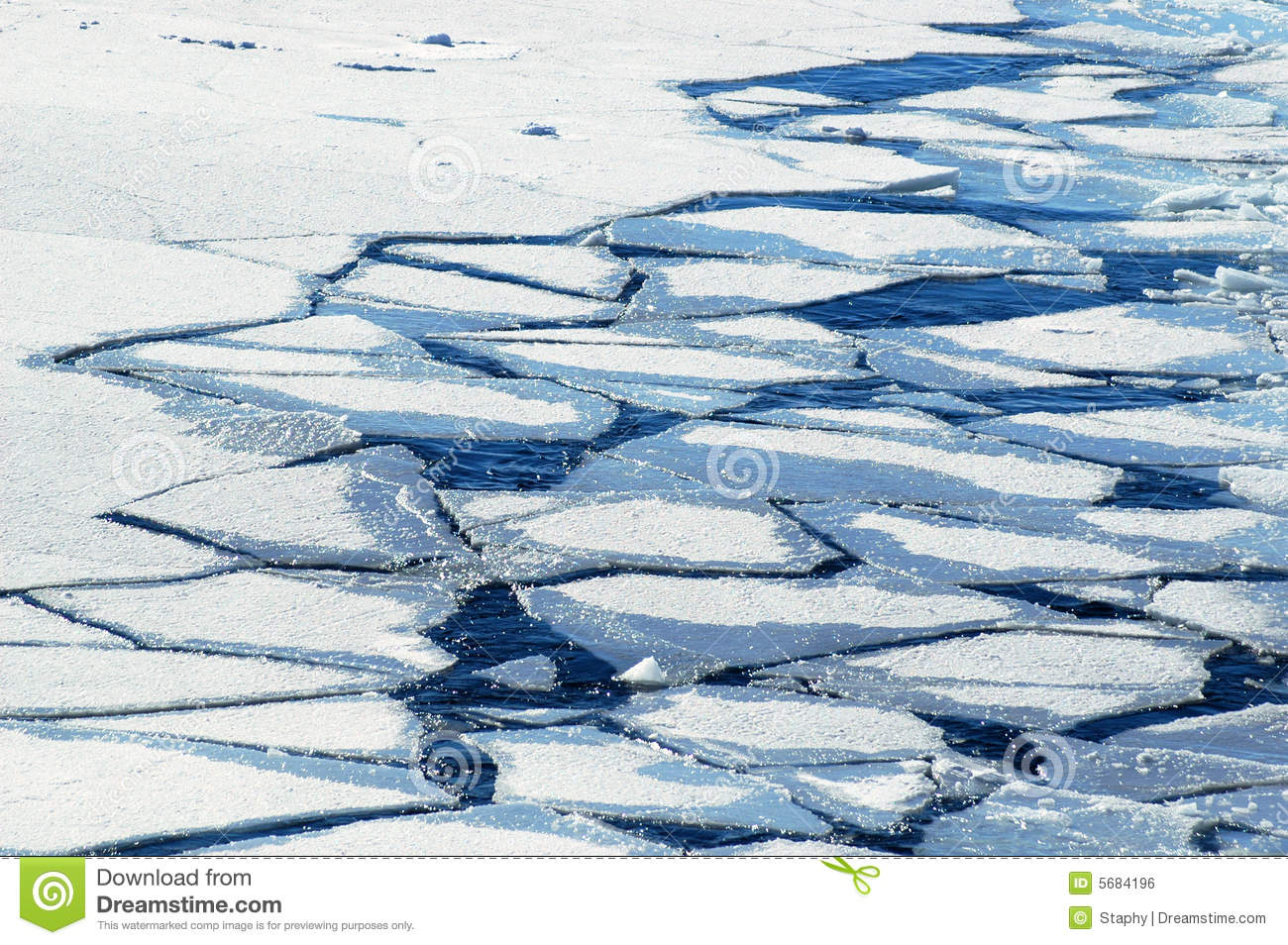 Crushed ice floes