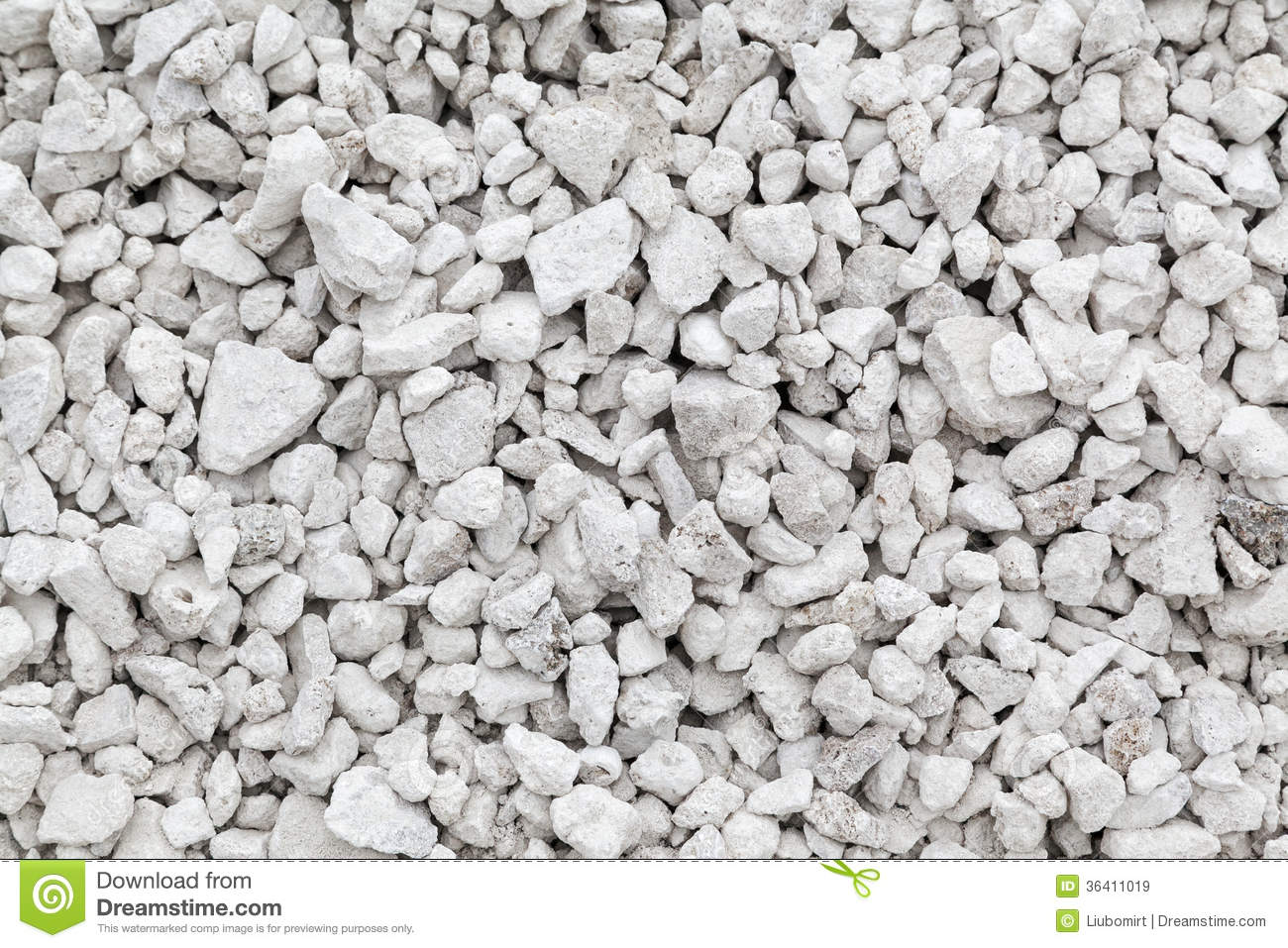 White Crushed Stone : Crushed limestone stock image of chips nature