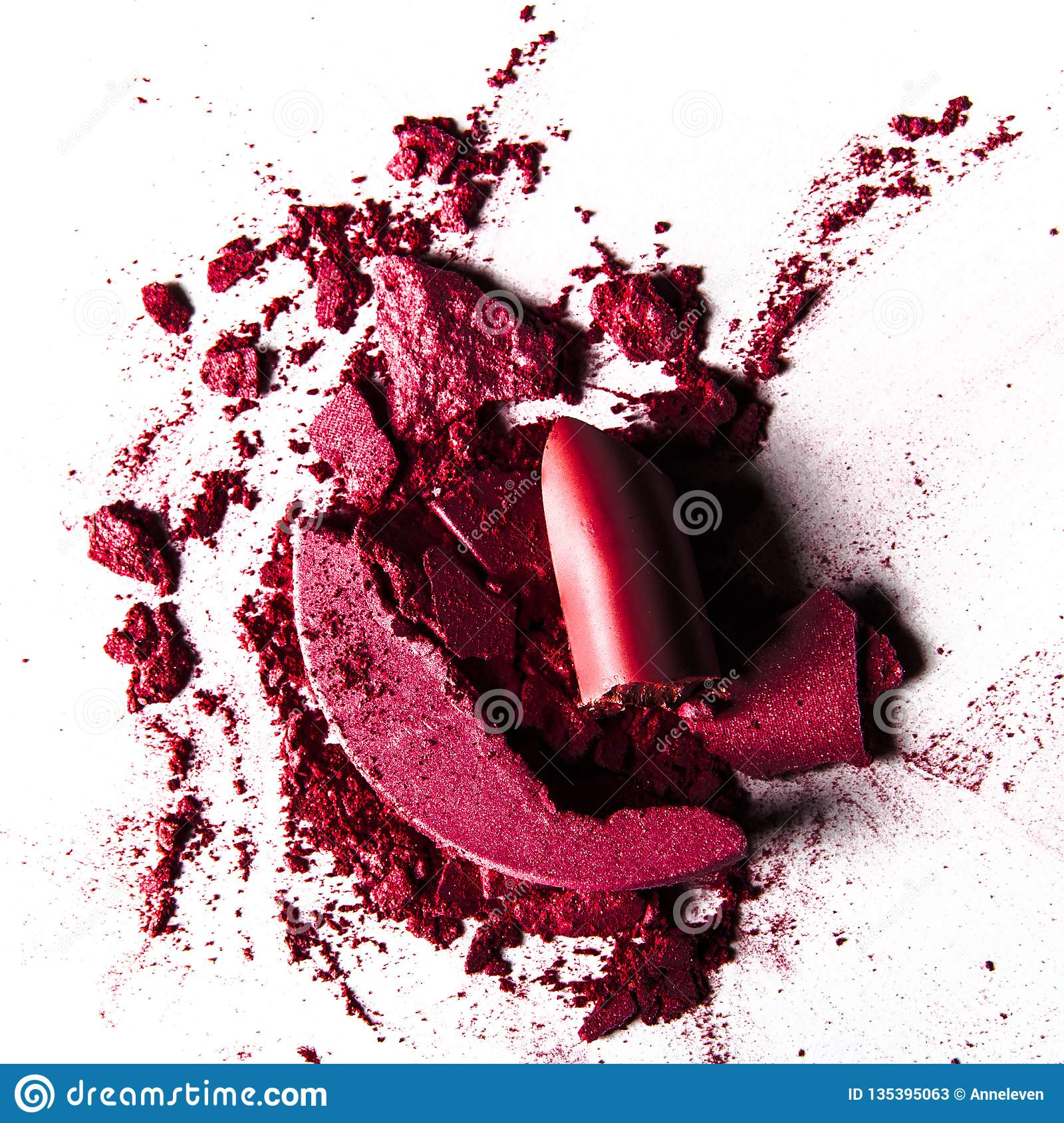 crushed make-up products - beauty and cosmetics styled concept