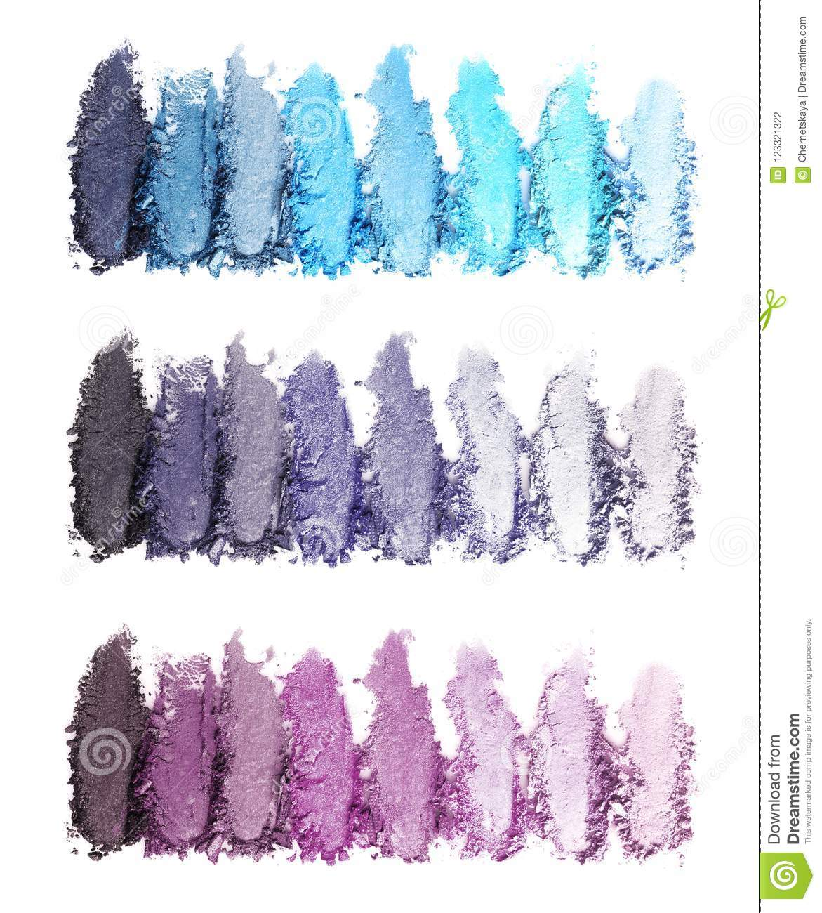 Crushed makeup products on white background