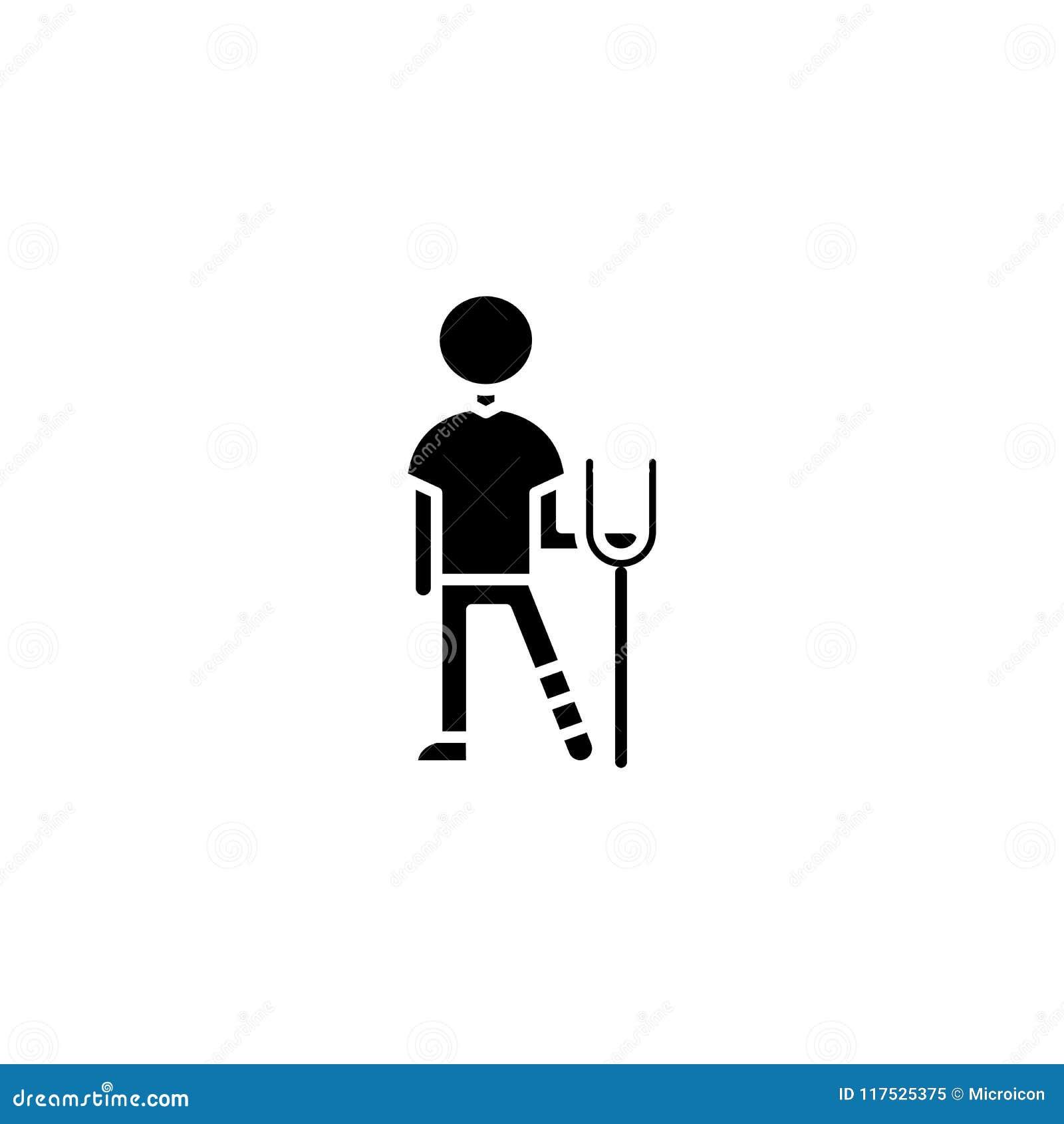Crutch Person Black Icon Concept Crutch Person Flat Vector Symbol