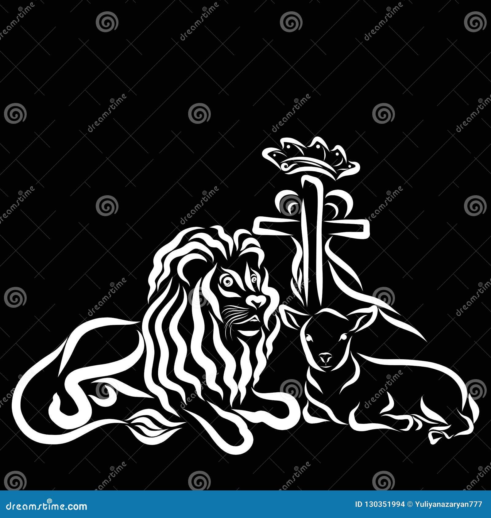 Cruz Com Coroa E Coracao Leao E Cordeiro Fundo Preto Ilustracao