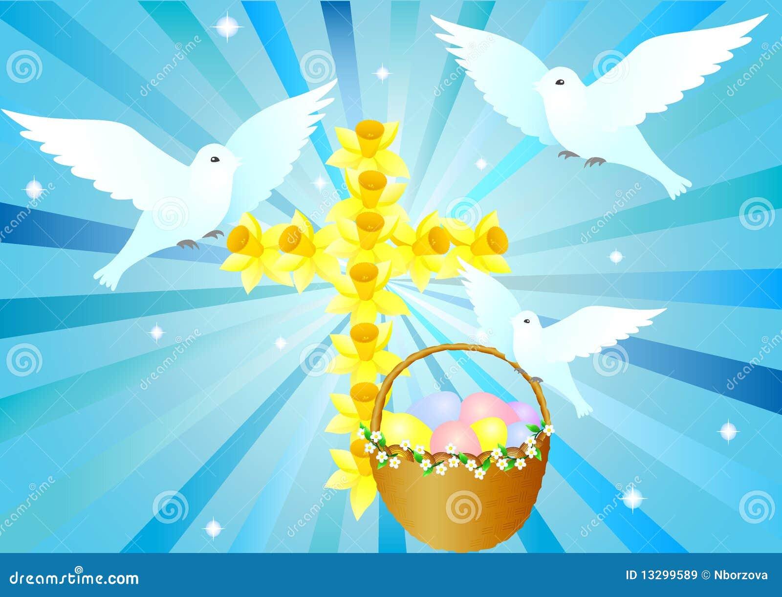 Cruz con las palomas y la cesta de pascua