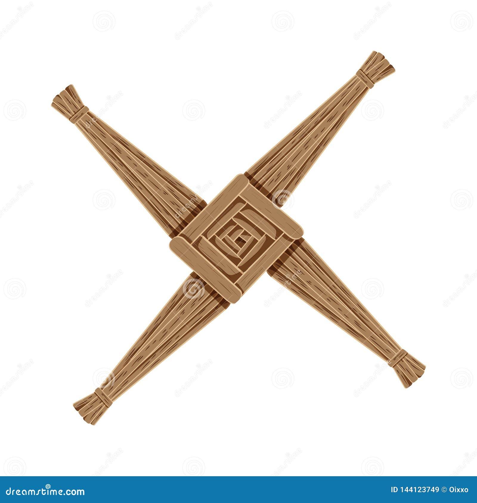 Cruz de Brigids hecha de la paja marrón Elemento aislado símbolo pagano de Wiccan