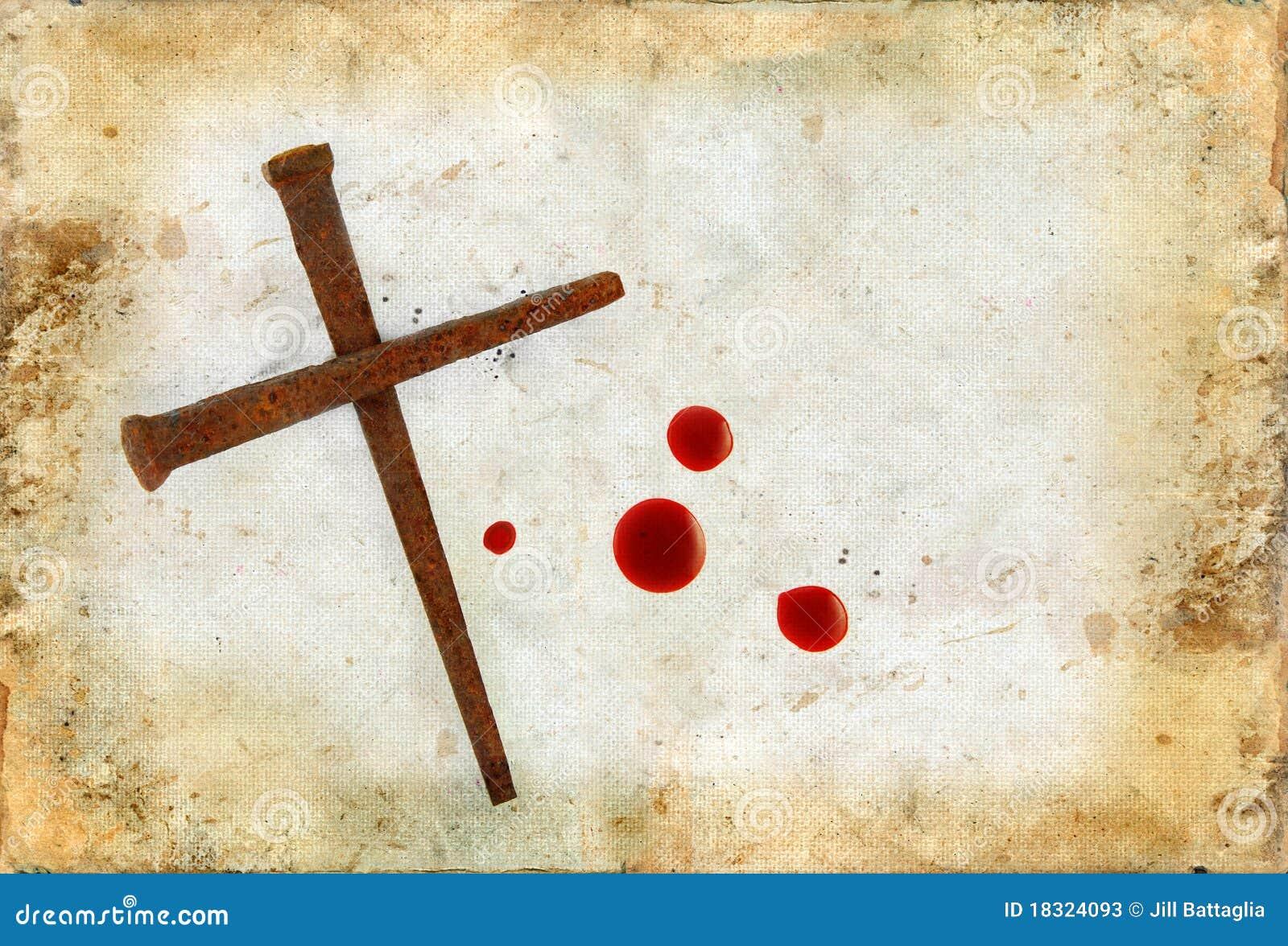 Cruz de clavos oxidados y de gotas de sangre en Grunge