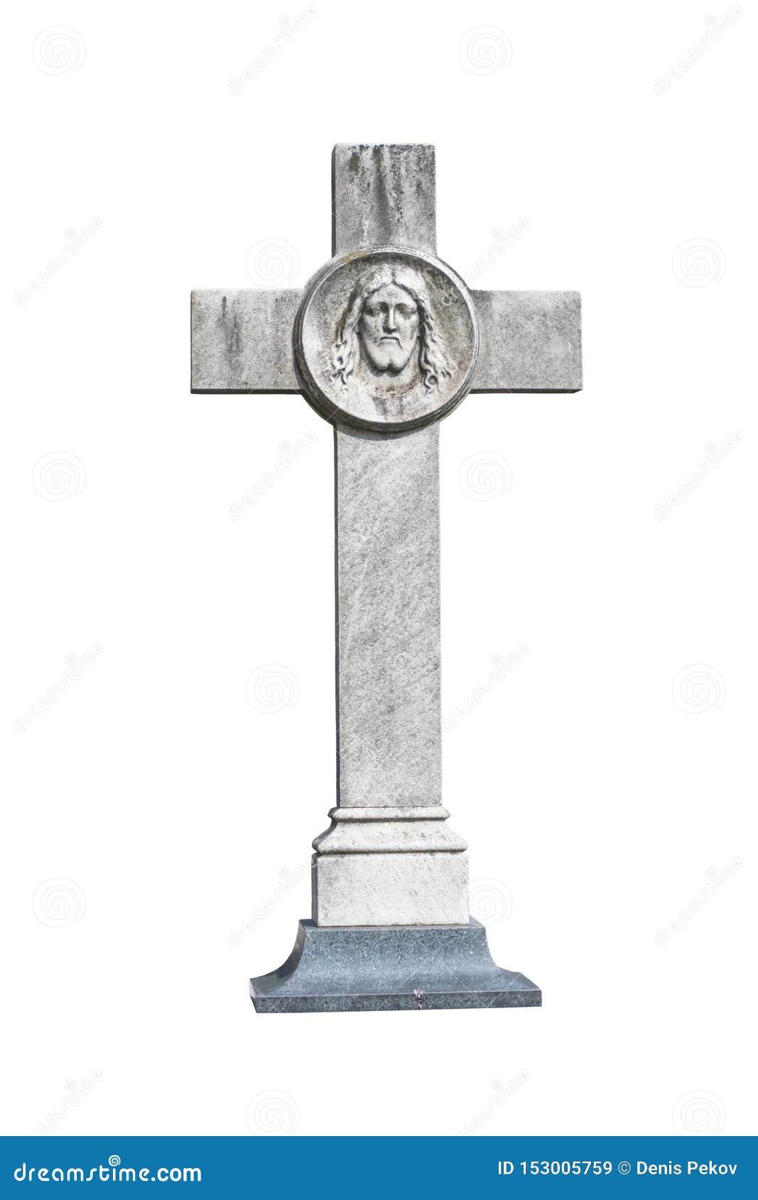 Cruz de piedra con la cara de Jesus Christ, aislante