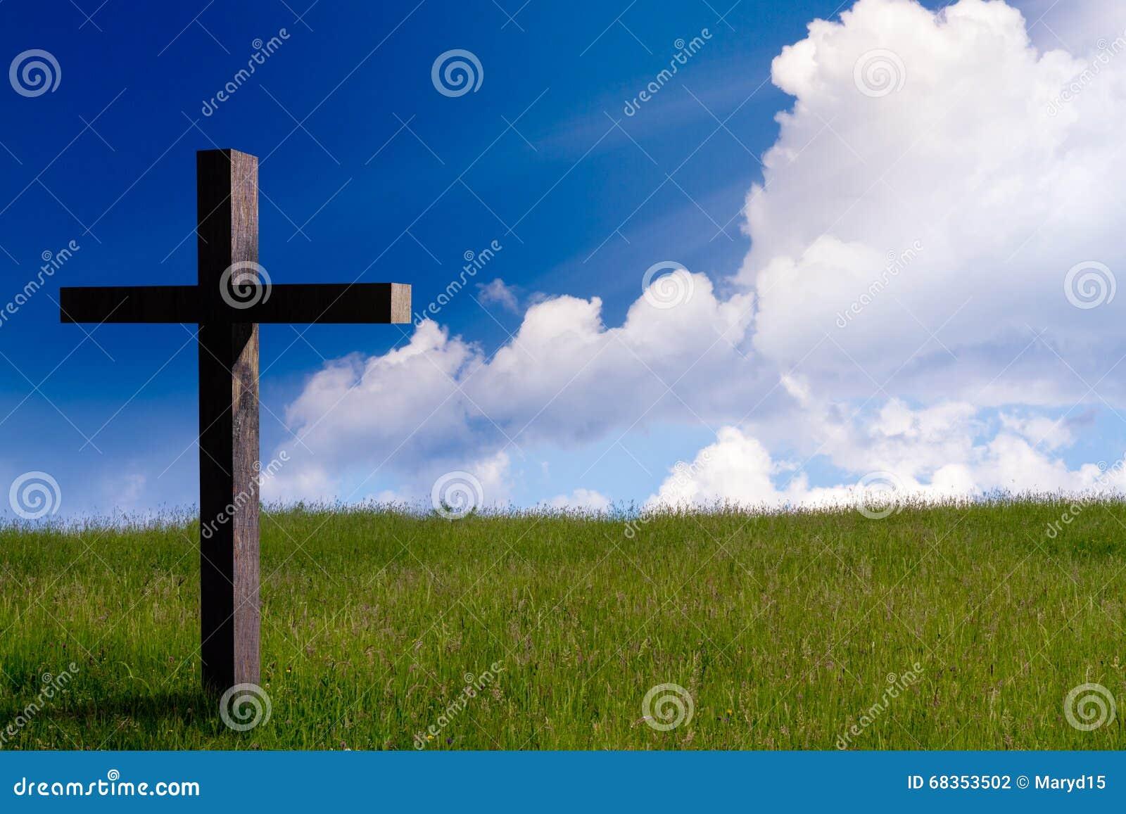 Cruz del Jesucristo Fondo de la resurrección de Pascua, concepto