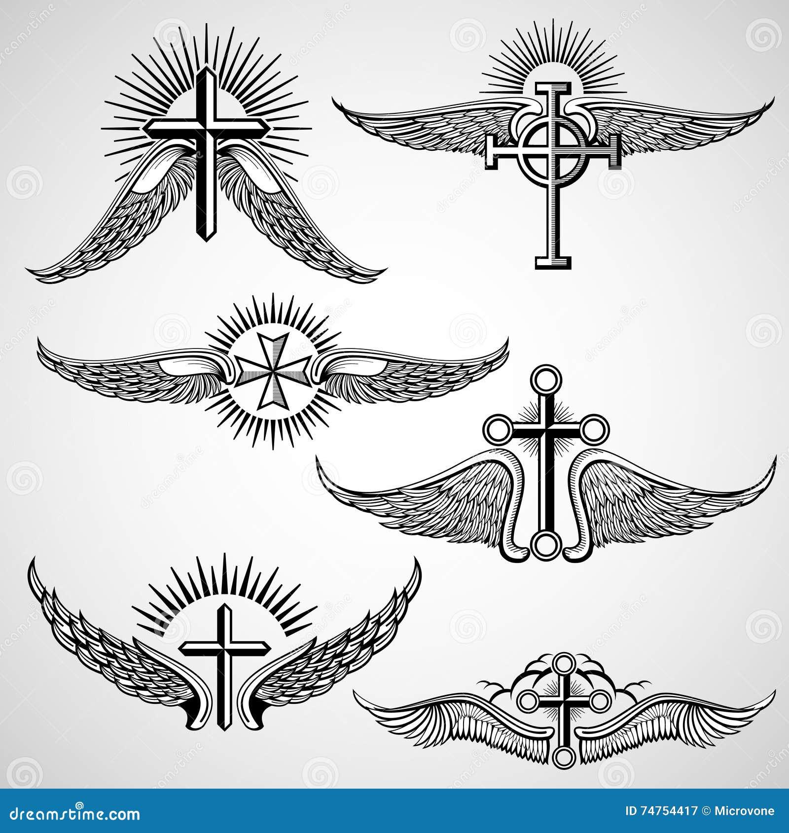 Cruz do vintage e elementos do vetor da tatuagem das asas