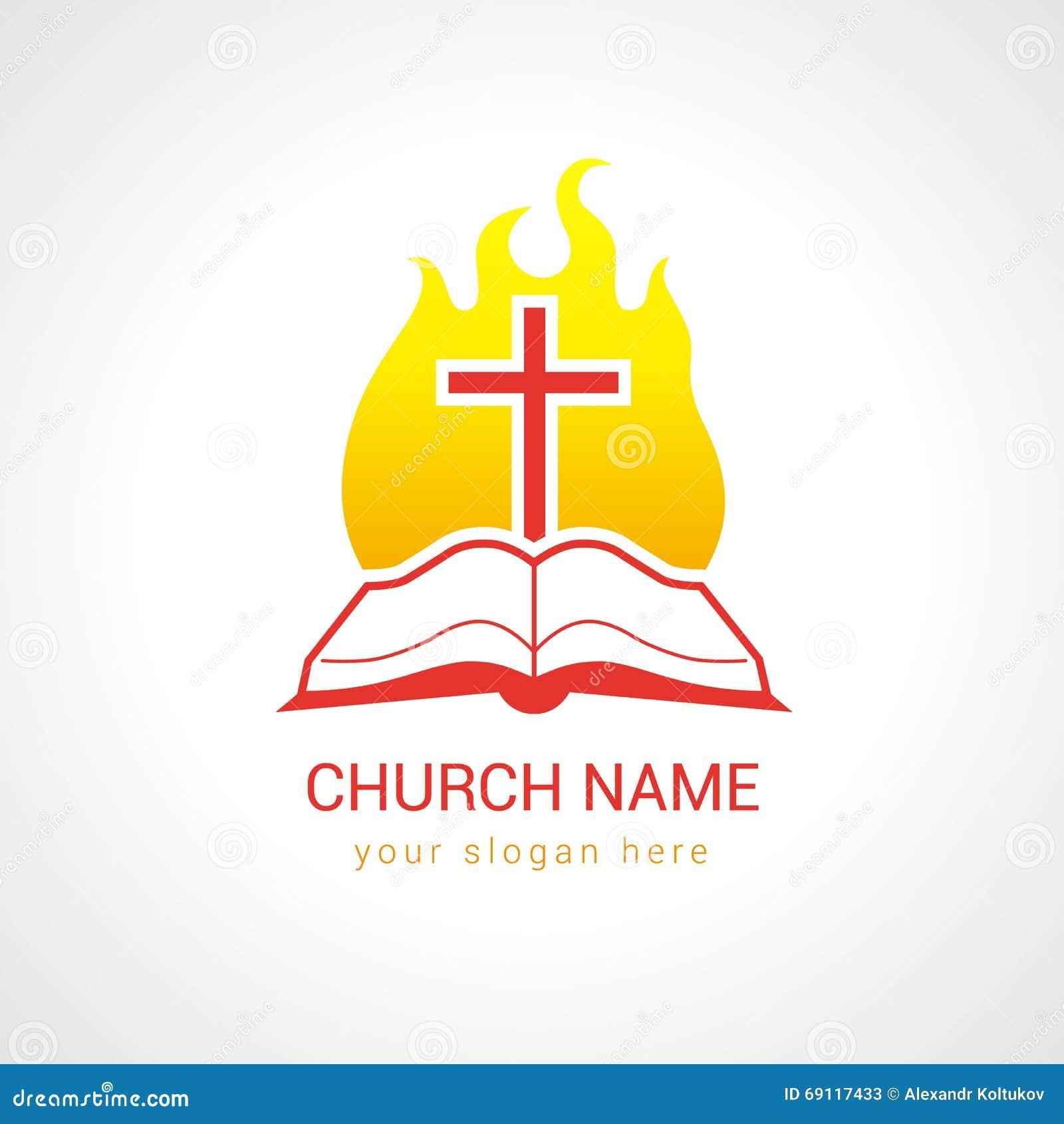 Cruz en el logotipo de la iglesia de la biblia de la llama