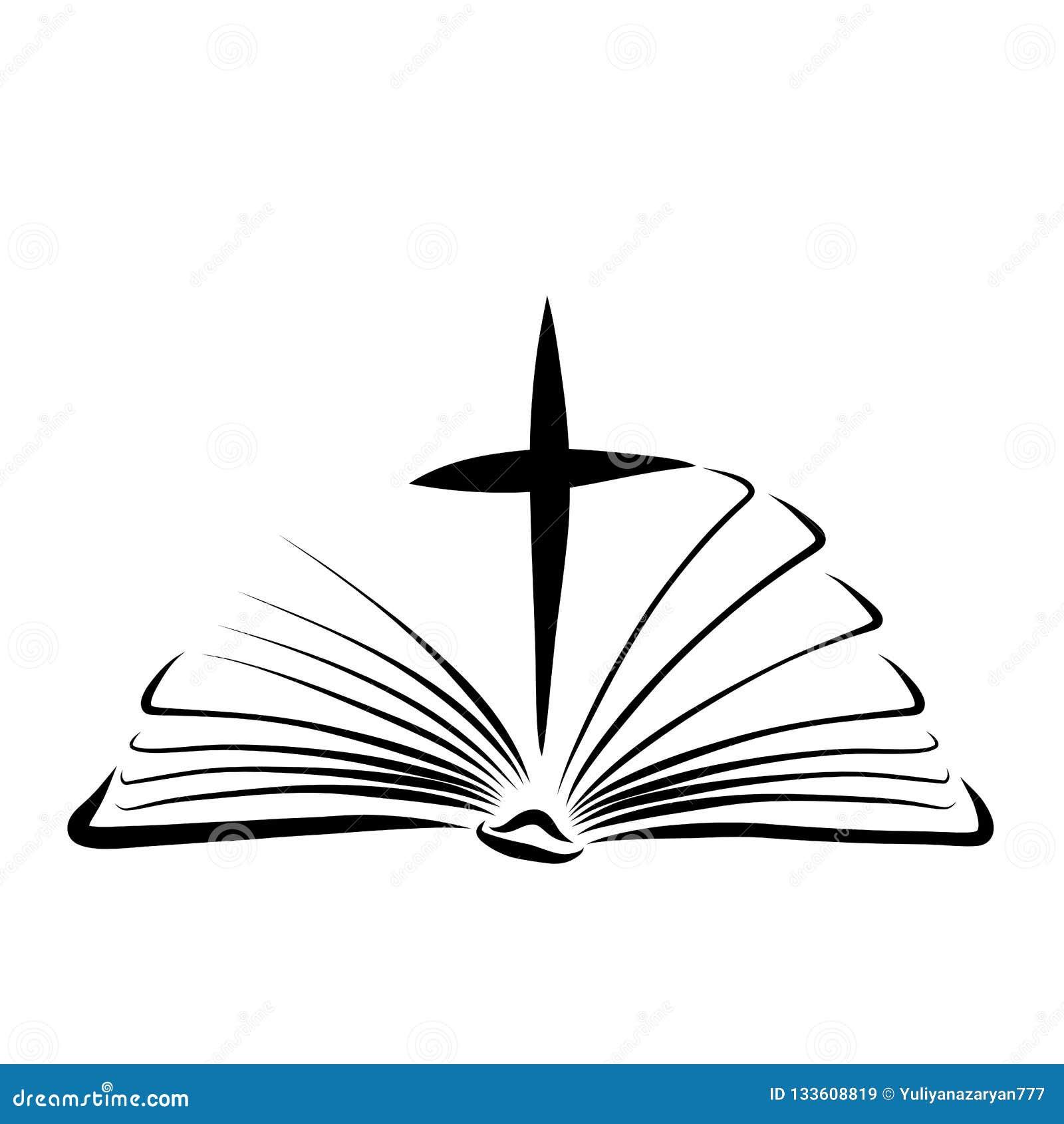 Cruz Entre Paginas De Uma Biblia Aberta Novo Testamento Ilustracao Stock Ilustracao De Coloracao Grace 133608819